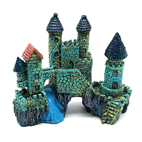 global market blue castle aquarium ornament castle aquatic decoration resin crafts - Blue Castle Decor
