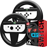 Orzly Steering Wheels for Nintendo Switch Joy-Cons, Racing Wheels for Mario Kart 8 Deluxe [Mariokart Switch Steering Wheel Jo