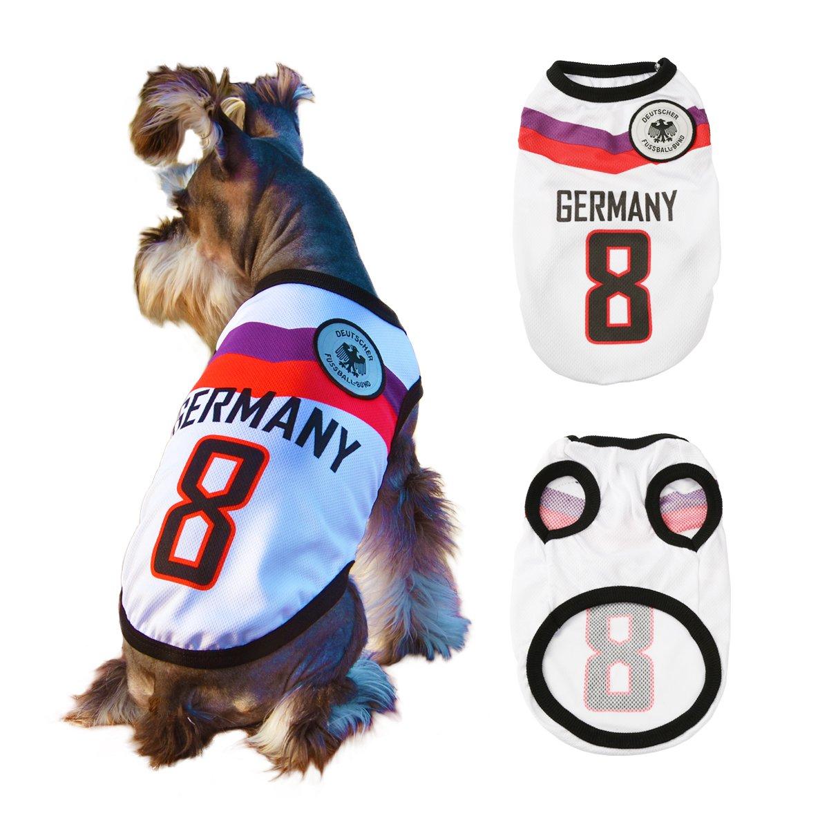 Trajes Perro Disfraz Gato Ropa para Perros Camiseta Fútbol Copa del Mundo FIFA Copa de Europa Jersey Alemania (M, Blanco): Amazon.es: Productos para ...