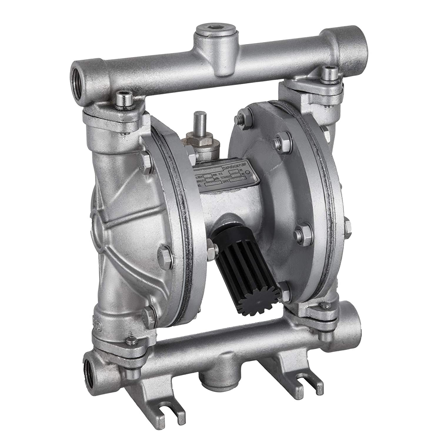 VEVOR Double Diaphragm 12 GPM Air Operated Double Diaphragm Pump 1/2Inch Plastic Air-Operated Diaphragm Pump 120 PSI Double Diaphragm Air Pump (QBK-15P)