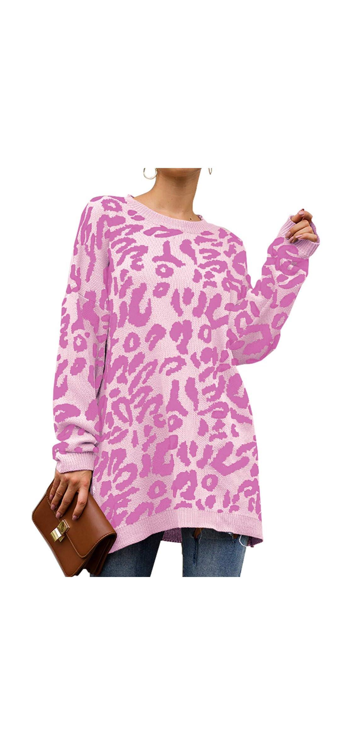 Leopard Print Oversized Sweater Loose Fit Knitwear For