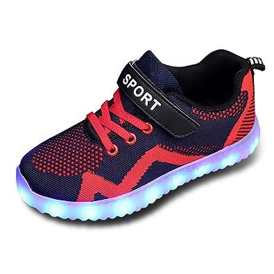 c46ac93f0cb443 LED Schuhe Kinderschuhe mit Licht 7 Farbe USB Aufladen Leuchtend Mesh  Sportschuhe LED Kinder Farbwechsel Sneaker