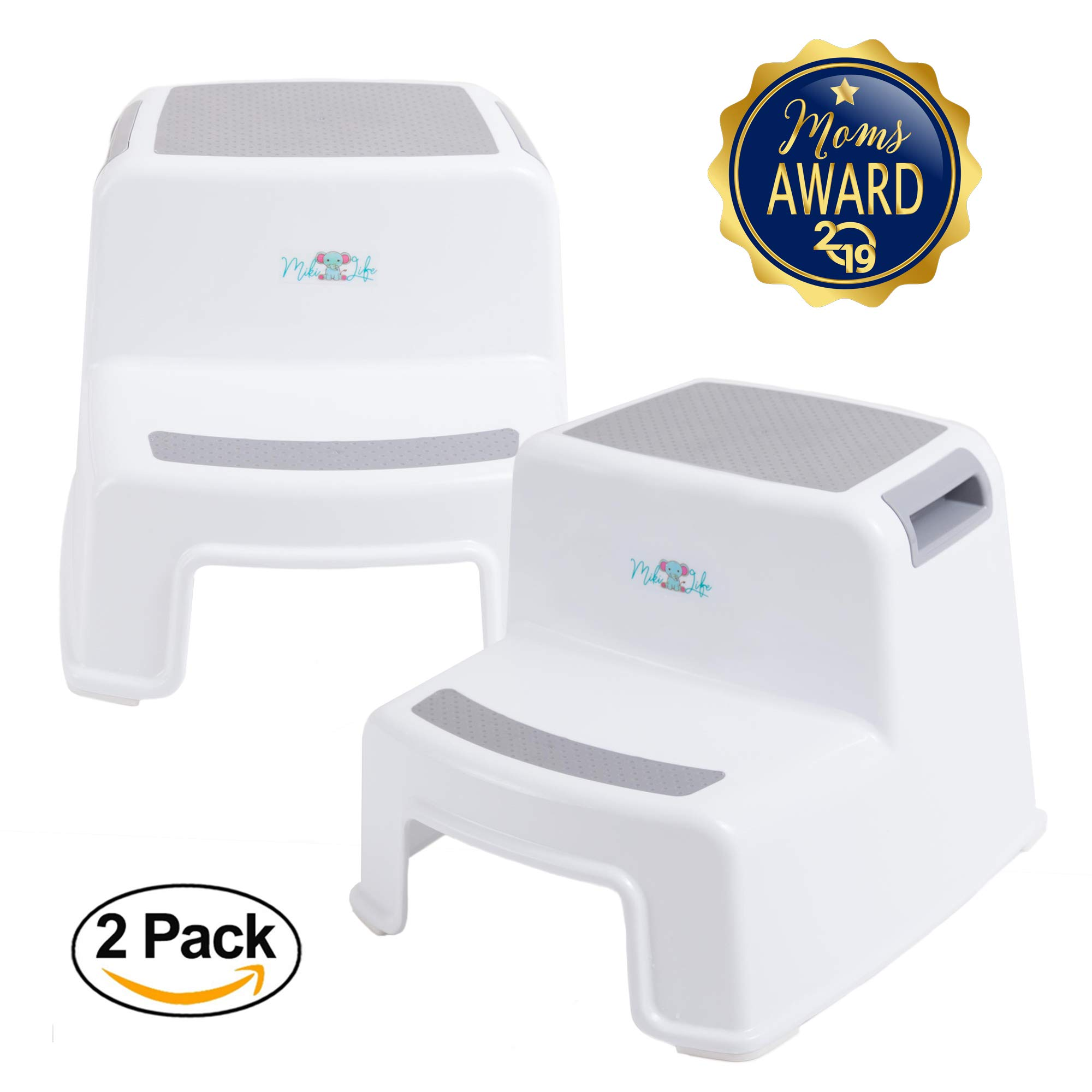 2 Step Stool for Kids | Slip Resistant Soft Grip for Safety | Toddler Two Step Stool for Kitchen, Bathroom and Toilet Potty Easy Training | Dual Height and Wide Step with Carrying Handles (2 Pack) by MikiLife