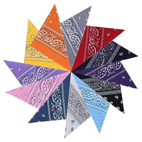 shop numerosi in varietà più amato GHB 12 x Bandana per Capelli Collo Testa Sciarpa Fazzoletti da Taschino  Fascia Foulard Multicolori 100% Cotone
