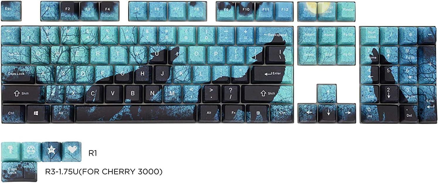 Wolf Black and White Animal Keycap Mechanical Keyboard PBT Gaming Upgrade Kit