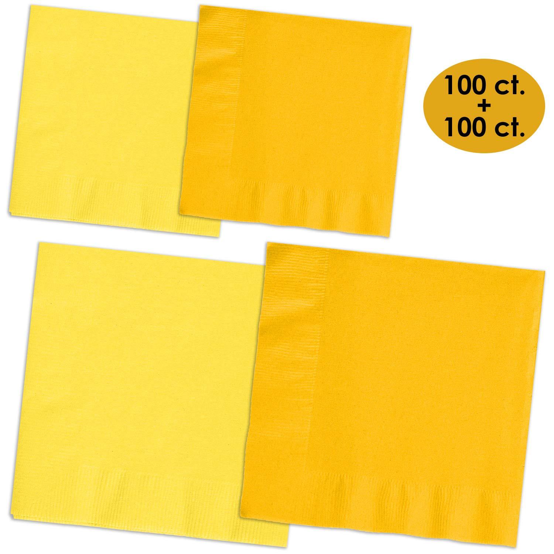 200 Napkins - Lemon Yellow & Sunshine Yellow - 100 Beverage Napkins + 100 Luncheon Napkins, 2-Ply, 50 Per Color Per Type