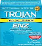 Trojan ENZ Armor Spermicidal Lubricated Condoms - 36 Count