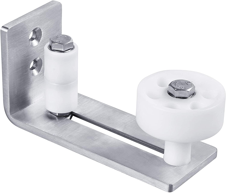 JKGHK Latches Bolts Heavy Duty Sliding Barn Door Floor Guide,Adjustable Roller,Wall Mount System,Flush Bottom Design,Floor and Door Panel Non-Damage