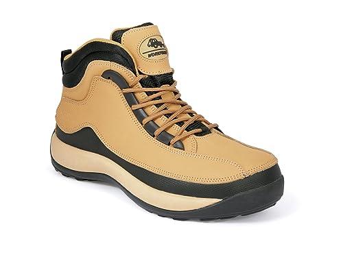 Fuerza de Trabajo Real Piel Ligero Hiker – Botas de Seguridad con Puntera de Acero (