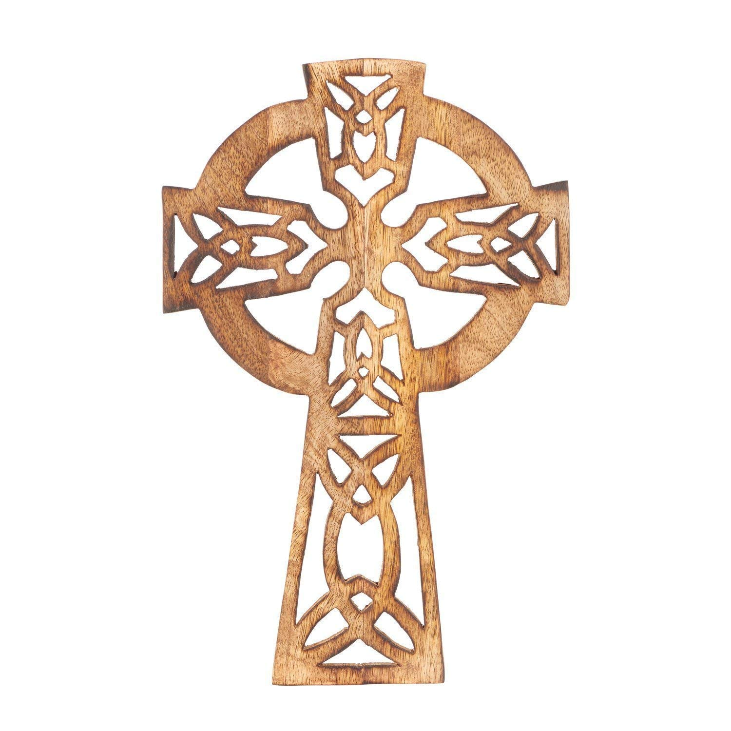 Celtic 18X12 Eximious India 18 Inches Decorative Crucifix Wooden Wall Cross Art Plaque Handmade for Church Or Home D/écor