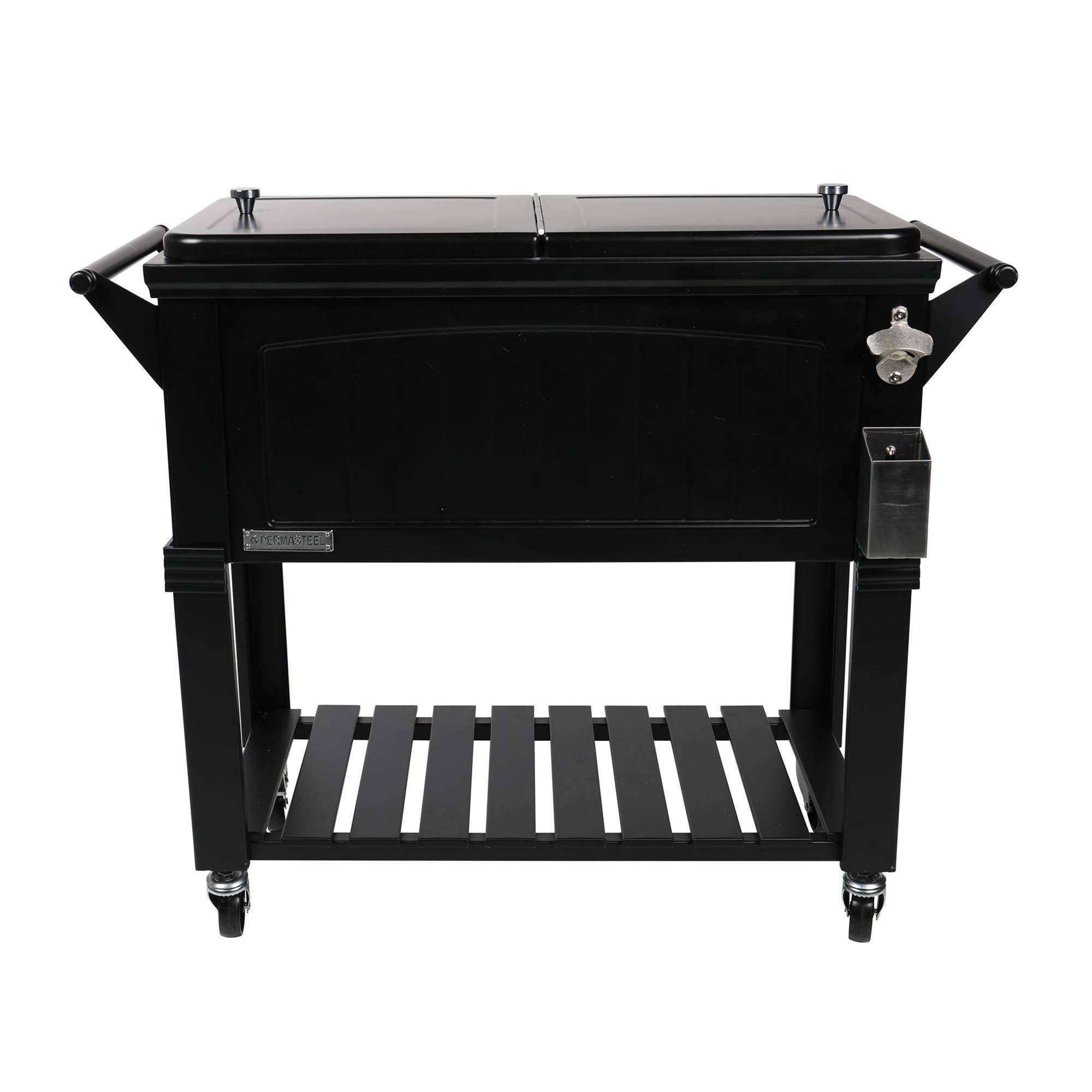 Permasteel PS-203F1-BLK-AM 80 Quart Portable Rolling Patio Cooler, Black by Permasteel