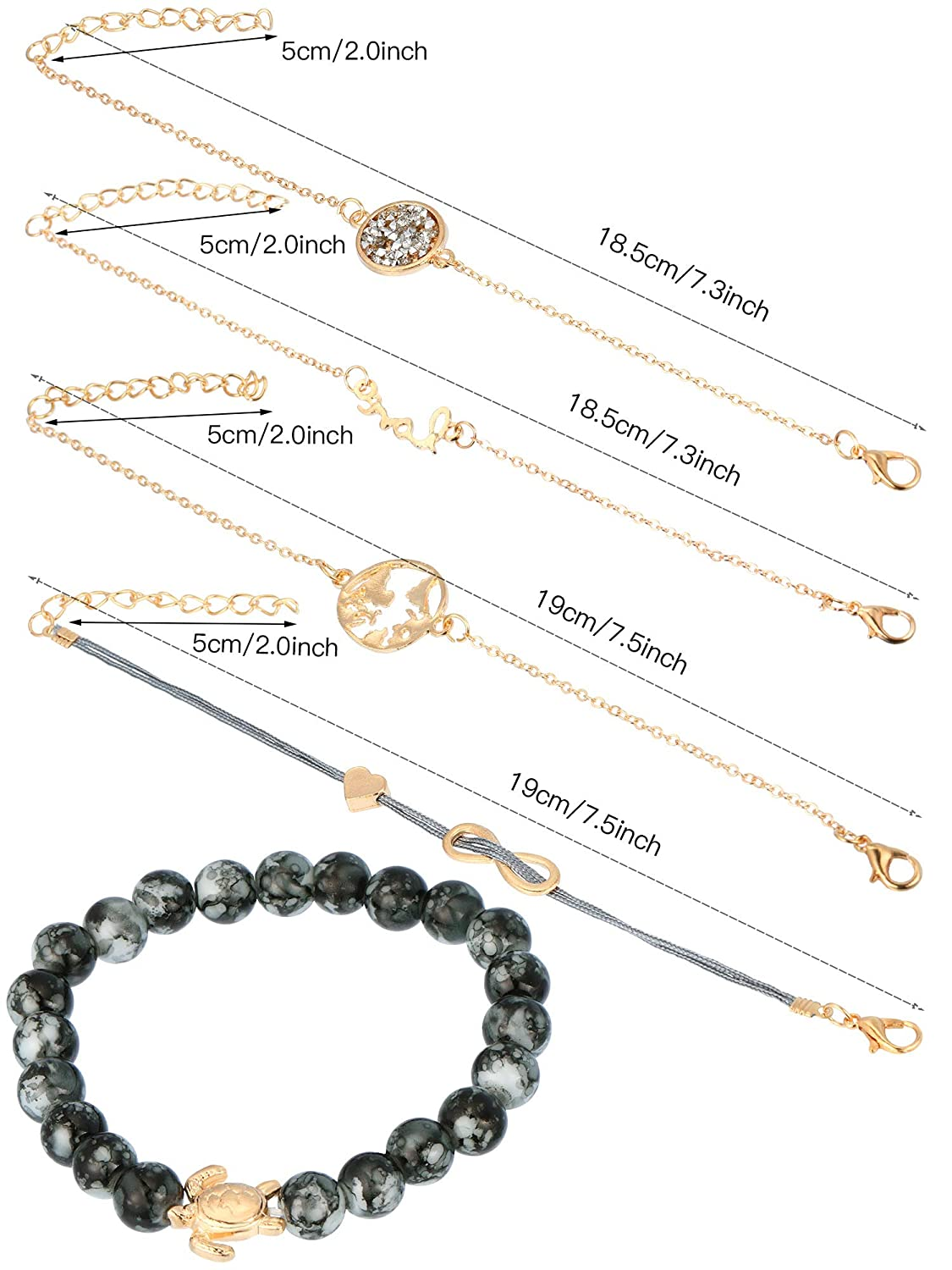 Skylety 5 Pieces Layered Bracelets Anklet Bracelet Stack Bracelets Pendent Boho Adjustable Bracelet for Women and Girls
