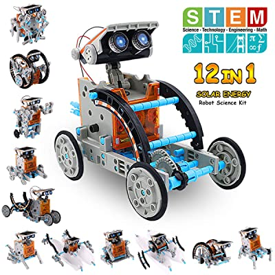 Pakoo Solar Robot Kit 12-in-1 Educational STEM Toys Solar Powered Building Toys DIY Robot Science Kit for 8-10+ Year Old Boys & Girls to Build Birthday Gifts: Toys & Games