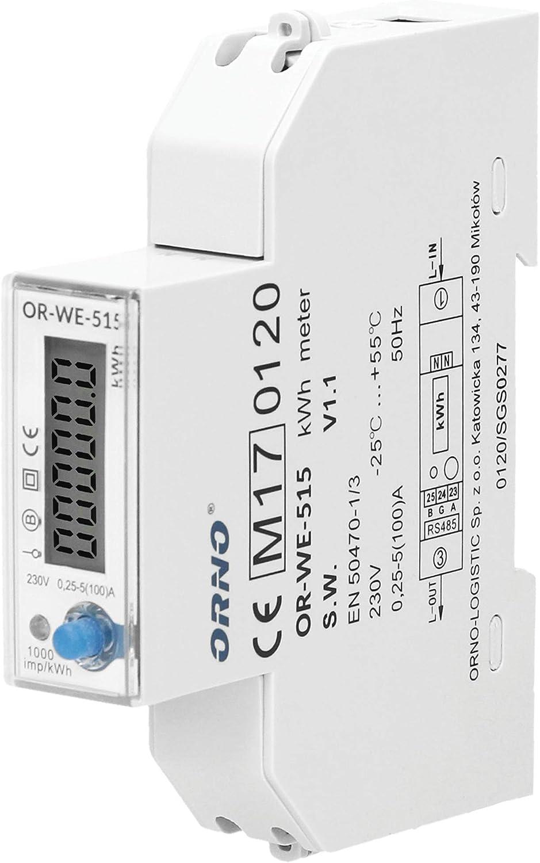 1P LCD Digitalanzeige Einphasen Din Rail Stromverbrauch Energiez/ähler Naroote Stromz/ähler
