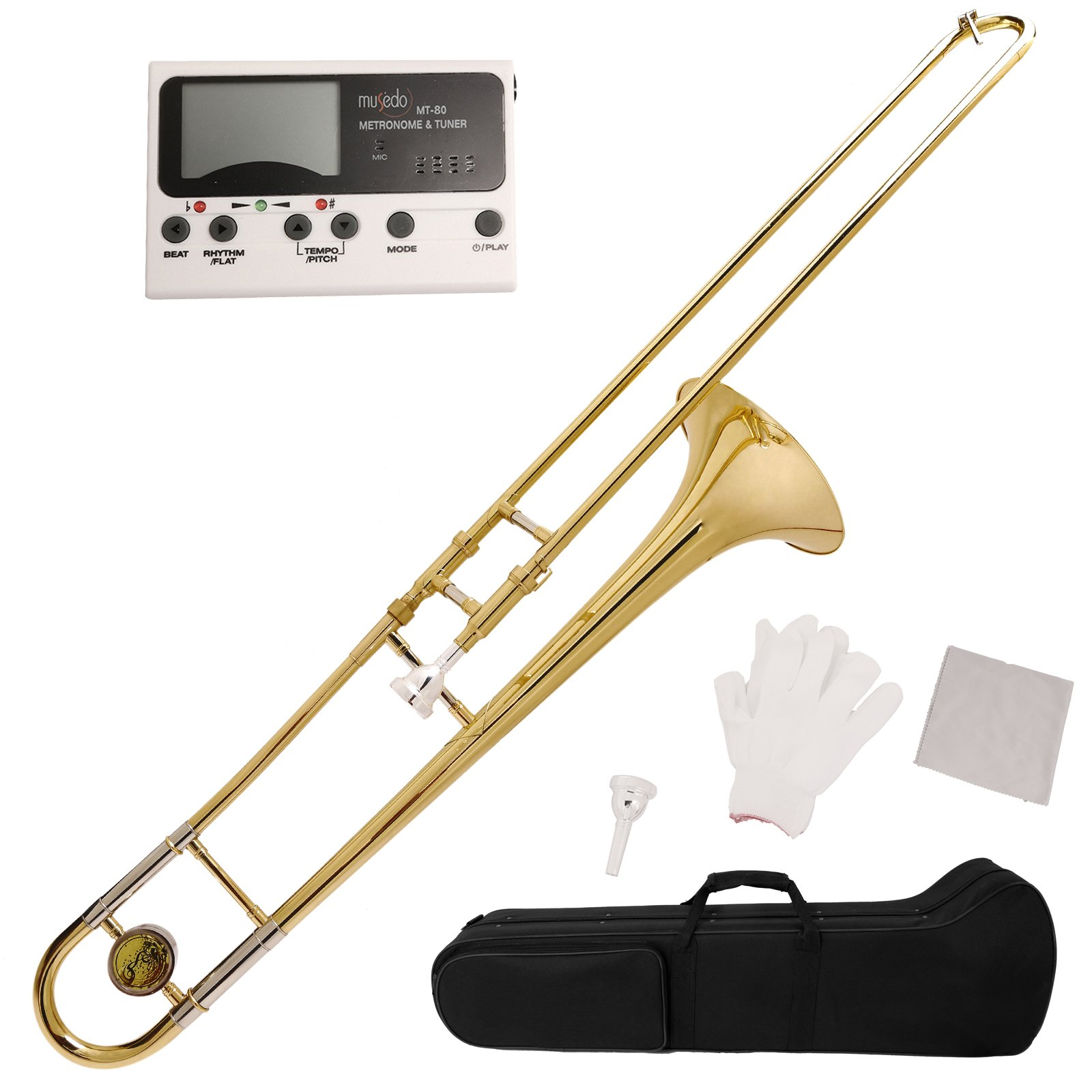 LAGRIMA Bb Slide Flat Tenor Trombone Gold Brass with Case MetroTuner Mouthpiece Care Kit for School Band Student