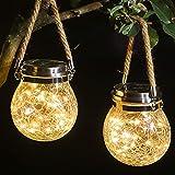 Crackle Glass Jar Solar Lights, 30 Led Solar Hanging Lantern Lights for Garden, Backyard, Patio, Lawn. (Warm White, Pack…