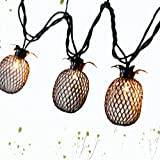 LIDORE Set of 10 Metal Pineapple Shaped Lanterns String Lights. Best For Indoor/Outdoor Decoration. Warm White Light.