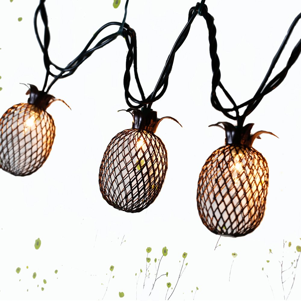 Lidore? Set of 10 Metal Pineapple Shaped Lanterns String Lights. Best For Indoor/Outdoor Decoration. Warm White Light.
