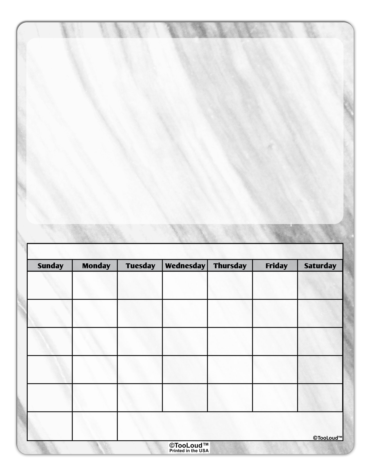 TooLoud White Marble Pattern Blank Calendar Dry Erase Board All Over Print