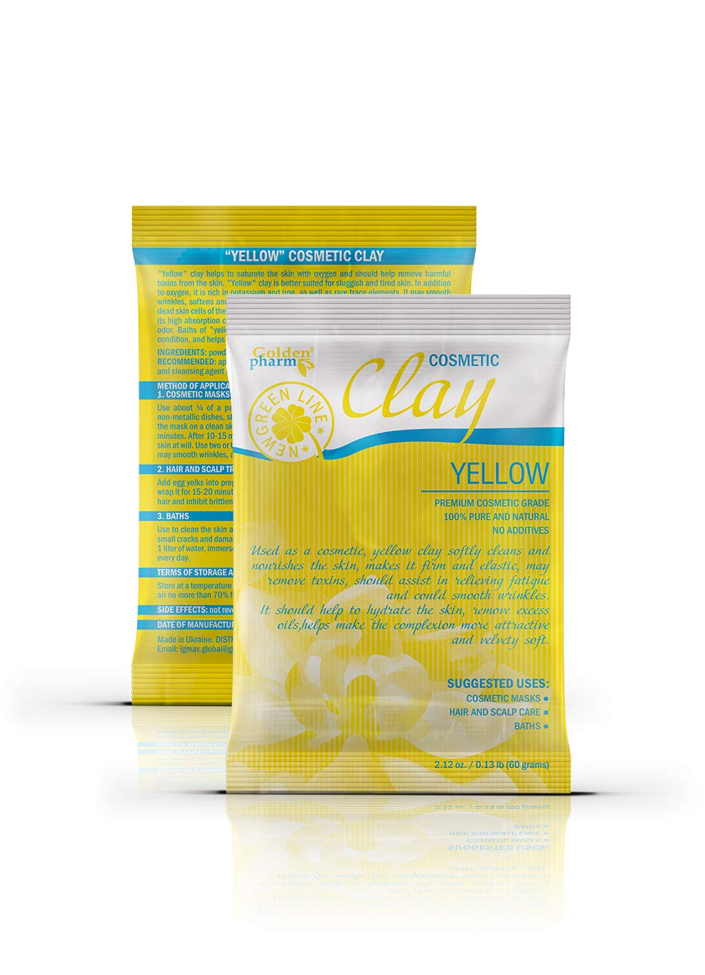 White Kaolin Clay Powder for Face and Body with Natural Additives (4 pack, yellow (with pumpkin))