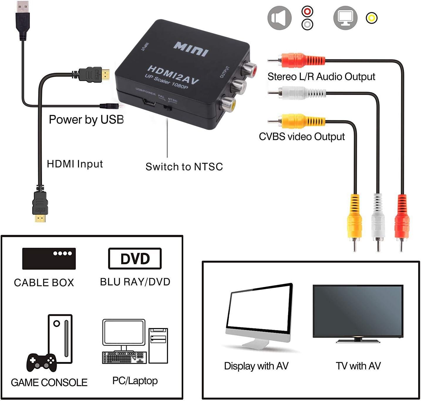 supporto PAL//NTSC con cavo di ricarica USB Convertitore video HDMI a RCA HD Yeebline 1080p mini HDMI a 3RCA AV//CVBS adattatore composito per PC//PS3//VCR//DVD