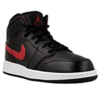 Jordan Air Jordan 1 Mid Youth Round Toe Leather White Basketball Shoe