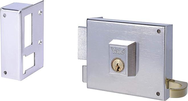 Yale, 12580IHN, Cerradura de Sobreponer Estándar, Hierro Niquelado, 80 mm, 125 / Izquierda: Amazon.es: Bricolaje y herramientas
