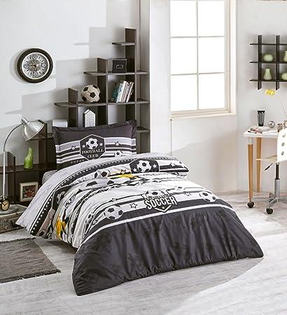 Football/Soccer Bedding, 100% Cotton Boys Bedding Quilt/Duvet Cover Set,