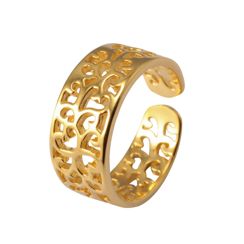 VIKI LYNN Toe Rings for Women Sterling Silver Adjustable Open Rings Tail Ring