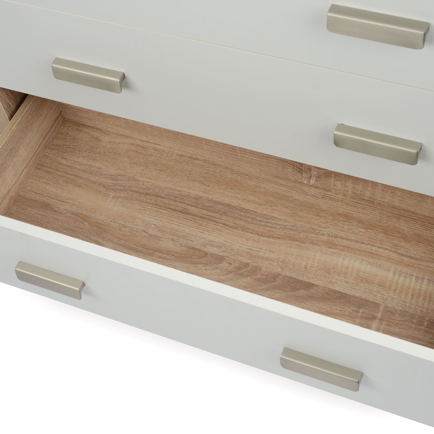 bianco oak effect white wood  drawer chest of drawers modern  - bianco oak effect white wood  drawer chest of drawers modern bedroomfurniture amazoncouk kitchen  home