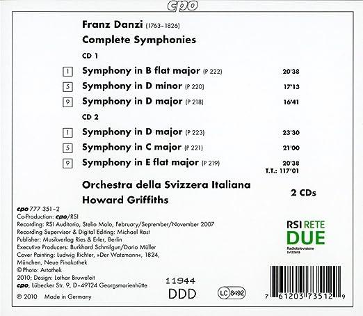 Franz Danzi, Howard Griffiths, Orchestra della Svizzera Italiana ...