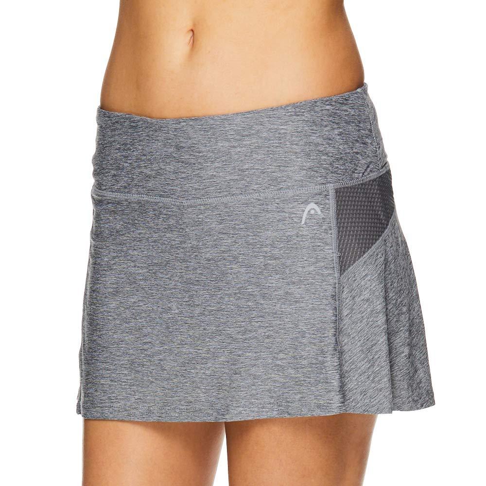 HEAD Women's Athletic Tennis Skort - Performance Training & Running Skirt - Fresh Mesh Quietshade Heather Grey, X-Small
