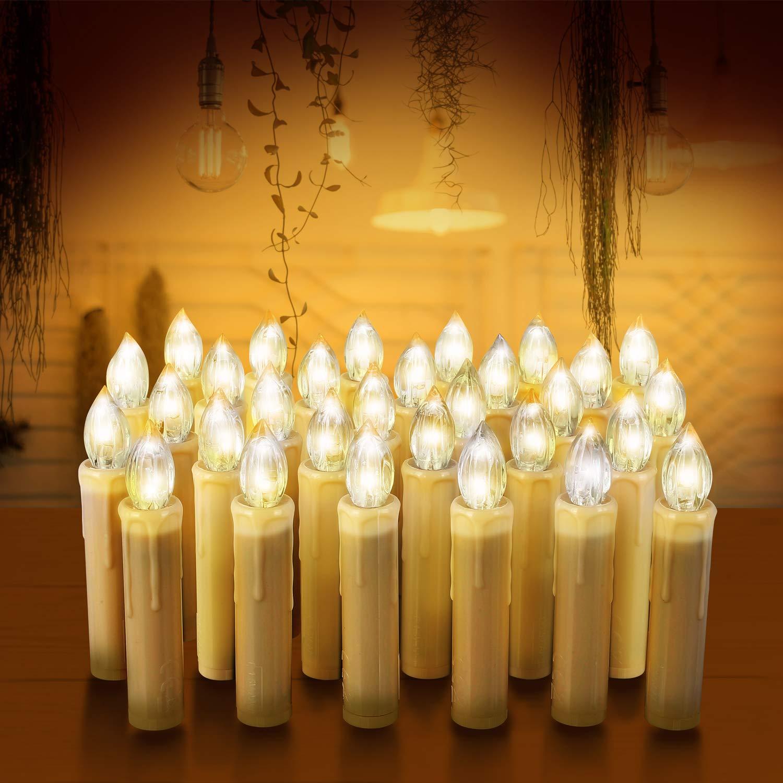 Velas LED de Navidad, MVPOWER 20 Luces de Velas Electrónicas Sin Llama Con Accesorios para Fijación y Control Remoto Infrarrojo para Árbol Navidad, Decoración de Cumpleaños, Fiesta-Luz Blanca Cálida