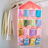 Absales Pink 16 Pockets Rack Clothes Storage Holder Cabinet Wall Door Hanging Shelf With Multi Colour