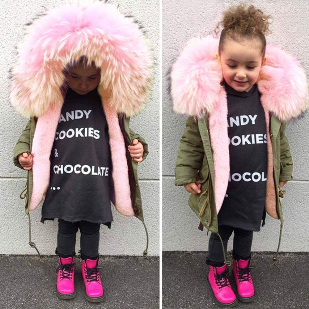kaiCran Kids Baby Girl Winter Warm Coat Fur Collar Casual Vintage Hooded Army Green Thick Jacket Outerwear