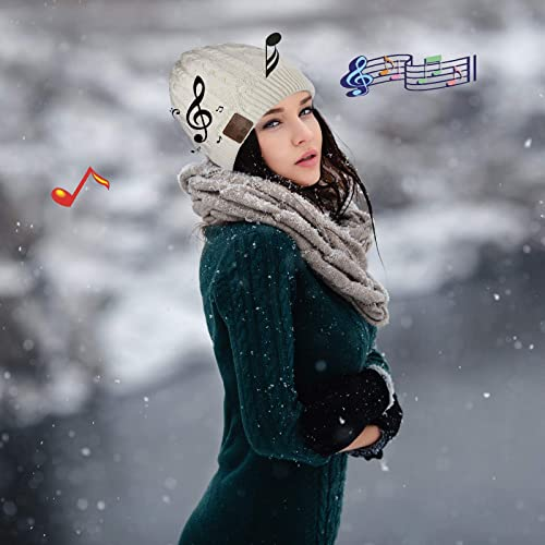 Bluetooth Hat Bluetooth Beanie V5.0 Wireless Bluetooth Headset Headphones Stereo Over Ear Earpieces Music Audio Earphones Women Men Boys Girls Gift Winter Cap Hands Free Outdoor Sport Cap