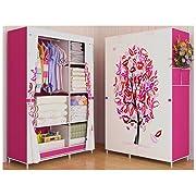Portable Cloth Closet, Wardrobe Or Storage (170cm X 105cm X 45cm). A Nice Cloth Organizer Or Cabinet for Man, Woman, Kid, Boy Or Girl (Tree Side Blind)