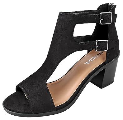 14a27613af31d SODA Women's Open Toe Double Buckle Cutout Stacked Heel Sandal