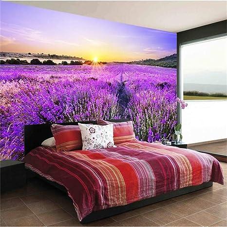 Bizi Fine Décor 3d Wallpaper Romantico Viola Campo Di Fiori Di