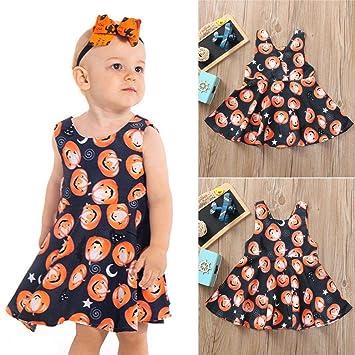 cde1077df Amazon.com   Infant Baby Girls Pumpkin Print Dresses Halloween ...