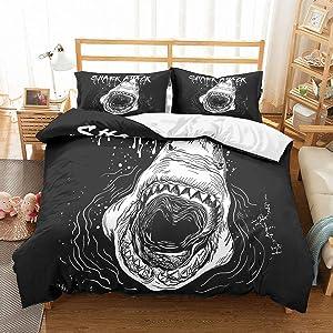PATATINO MIO Kids Shark Duvet Cover Queen Microfiber White Shark Big Open Mouth Shark Attack Printed 3PCS(1 Duvet Cover 2 Pillow Sham) Bedding Set for Boys Girla Children