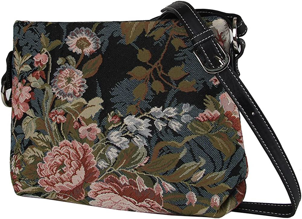 XB02-PEO Signare Tapestry Navy /& Pink Women/'s Satchel Cross body Purse Bag with Adjustable Strap with Peony Flower