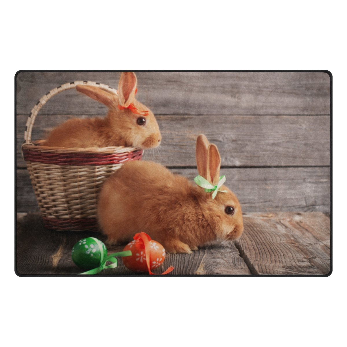Vantaso Door Mats Non Slip Rugs Easter Egg And Bunny On Wood Board Play Mats Carpets for Kids Playing Room Living Room Soft Foam Kitchen Rugs 60x39 inch