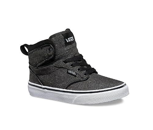 da37bce7a412 Vans Boy s Atwood Hi (F16 Textile) Black White Skateboarding Shoes (US 10.5