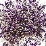OIVA 800pcs Round Pearl Head Dressmaking Pins Weddings Corsage Florists Sewing Pin (3.5 cm, Purple)