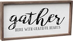 """Gather Here with Grateful Hearts Wood Framed Wall Sign, Farmhouse Gather Wall Hanging Decor for Dining Room, Bedroom, Kitchen or Living Room, 19.375"""" W x 9.5"""" H"""