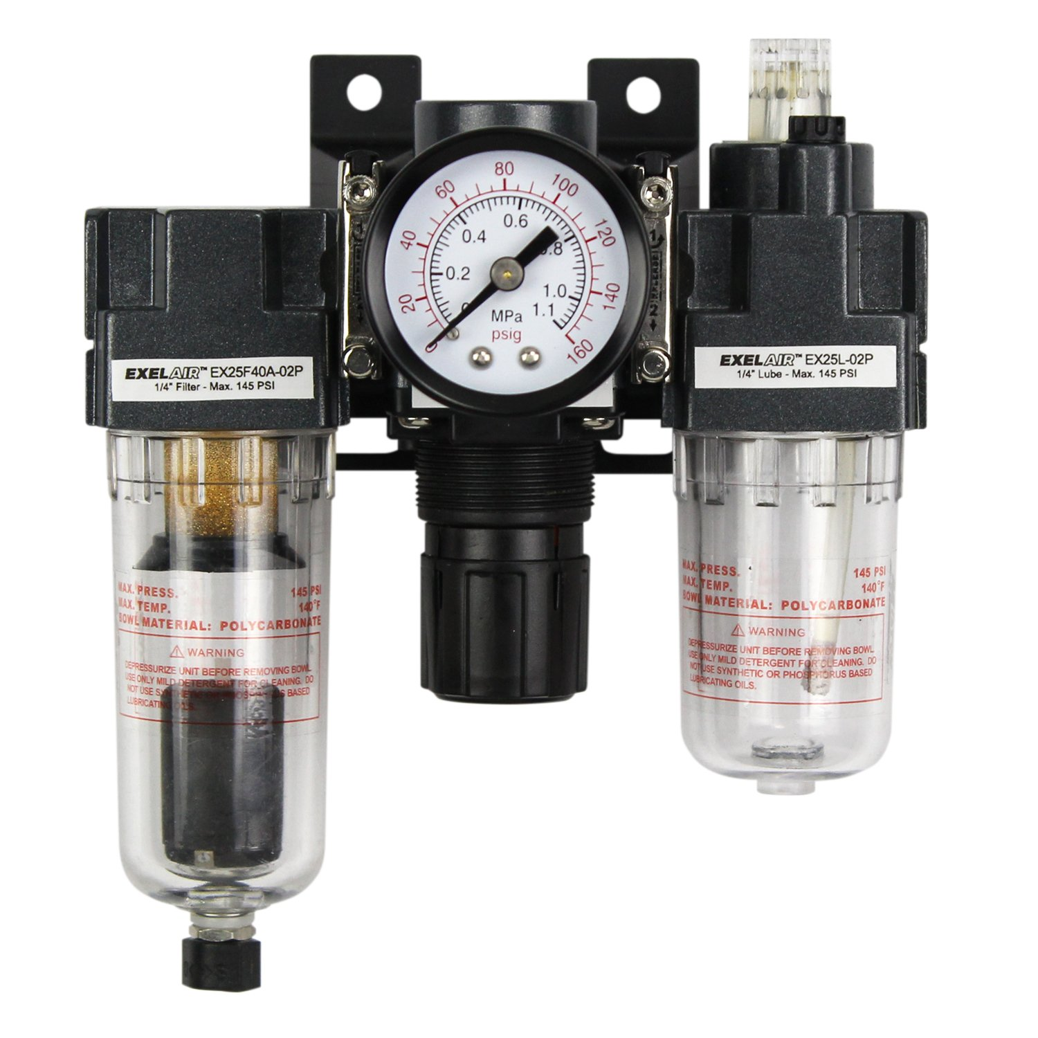 ExelAir EX25FRL40A-02P 1/4'' NPT Mini Polycarbonate FRL Air Filter Regulator and Lubricator System by EXELAIR