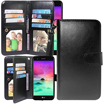 LG K20 Plus Case, V Grace Harryshell Luxury 12 Card Slots Kickstand PU Leather Wallet Flip Protective Case Cover with Wrist Strap for Amazon.com: