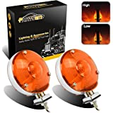 """Partsam 2x LED 4"""" Double-Face Stop/Turn Light Assembly w/ Chrome Reflector Amber 24 Diodes for Truck Trailer Peterbilt Freightliner Kenworth Mack"""