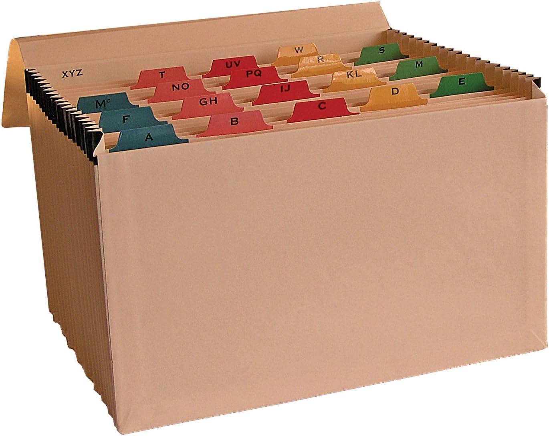 Trieur /à soufflet en manille avec index alphab/étique en mylar multicolore